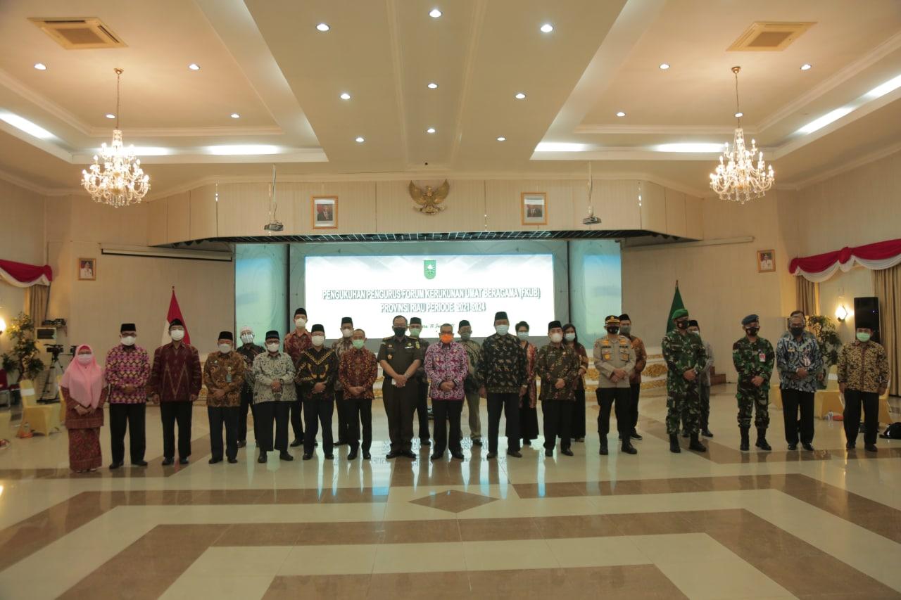 Wagubri Kukuhkan Pengurus FKUB Riau Priode 2021-2026, Jaga Toleransi Antar Umat Beragama