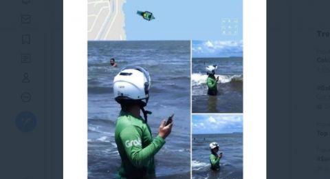 Driver Ojol Masuk Laut Pakai Helm, Warganet: Orderan Nyi Roro Kidul